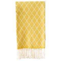 Organic Wool Blanket or Throw in Yellow Diamond Pattern Made in Portugal