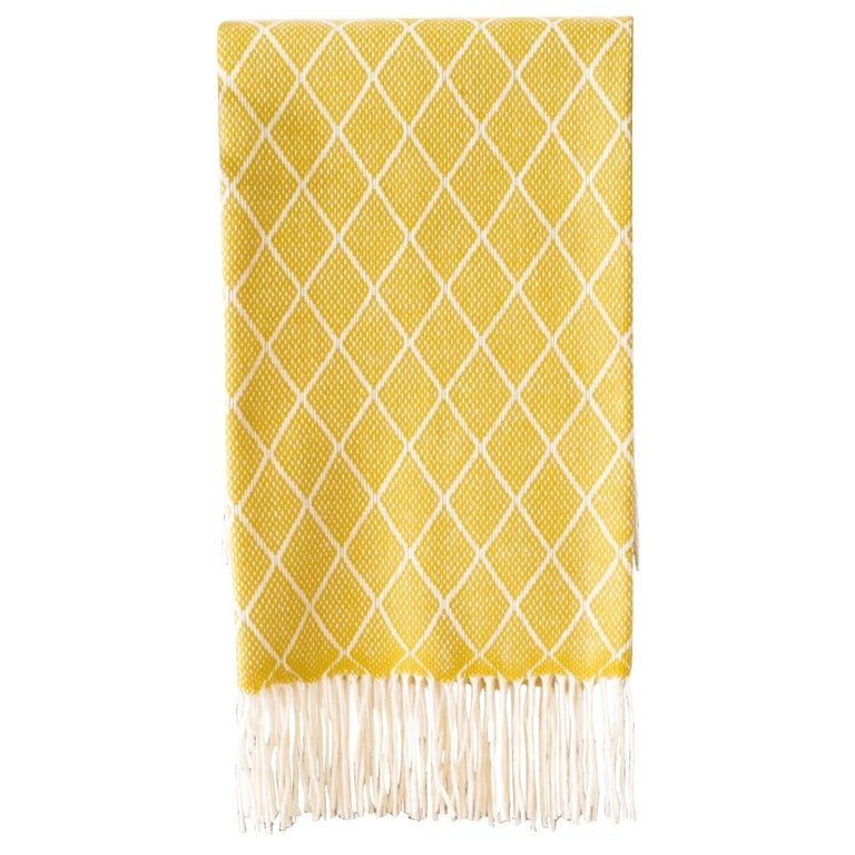 Organic Wool Blanket or Throw in Yellow Diamond Pattern Made in Portugal For Sale