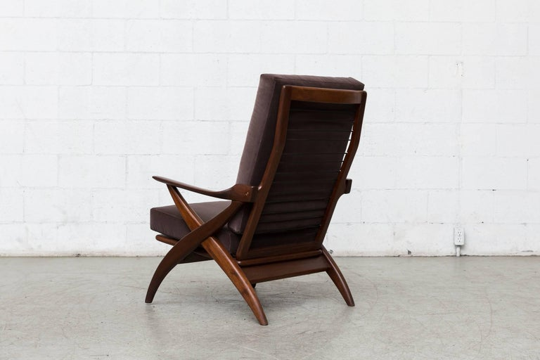 Mid-Century Modern Organically Carved High Back Teak Lounge Chair For Sale