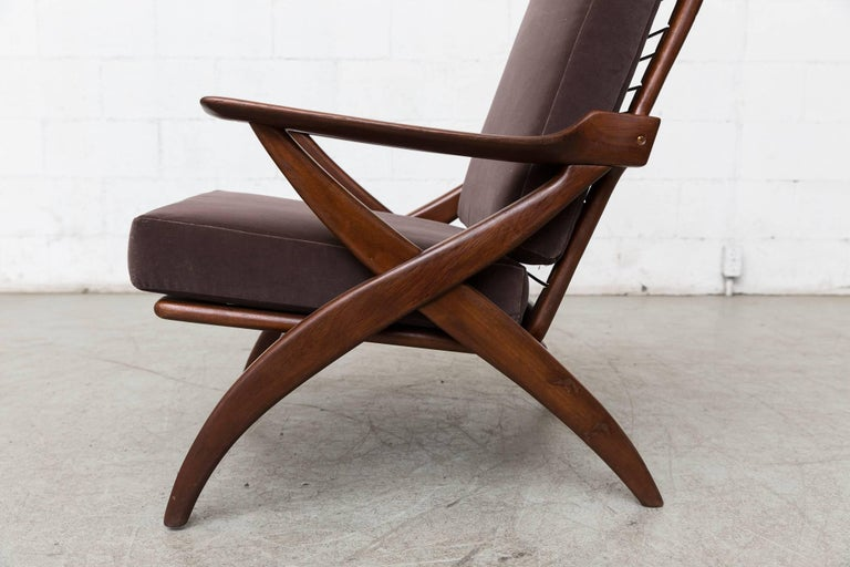 Organically Carved High Back Teak Lounge Chair For Sale 2