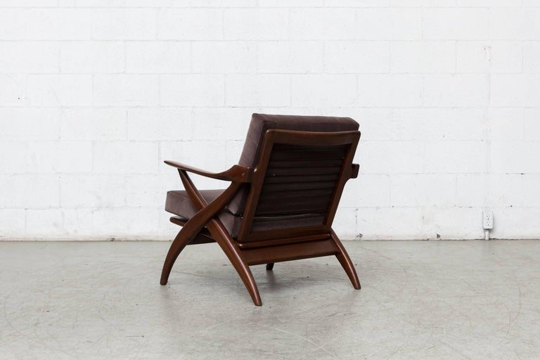 Dutch Organically Carved Low Back Teak Lounge Chair For Sale