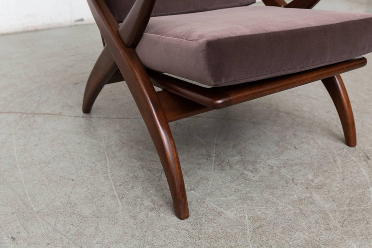 Velvet Organically Carved Low Back Teak Lounge Chair For Sale