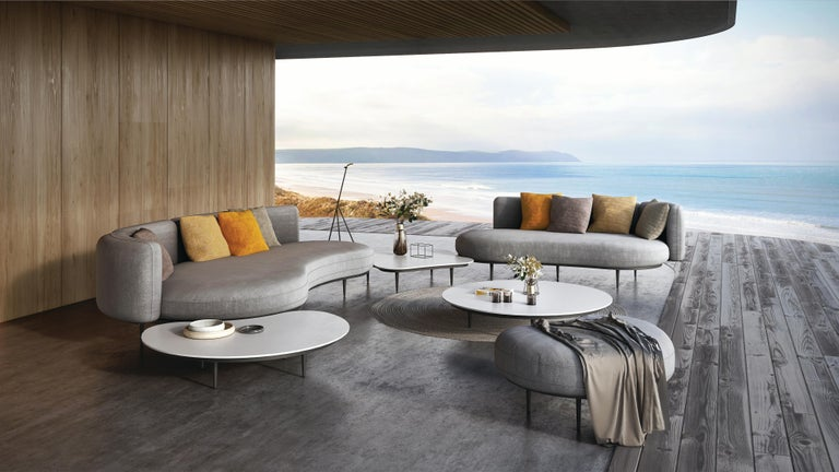 Organix outdoor louge set designby Kris Van Puyvelde. Brand new collection to fit the Organic Outdoor Space for all seasons. Additional Sofas, Coffee Tables, and Poufs available.   includesNatura (1) Organix 001 Sofa: Black Legs with Silver
