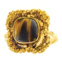Organo Chic Tiger's Eye Set Gold Ring