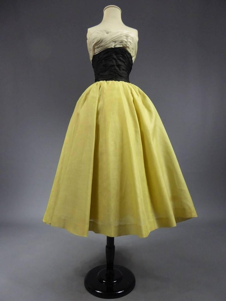 Brown Organza Haute Couture evening dress France, Circa 1955 For Sale