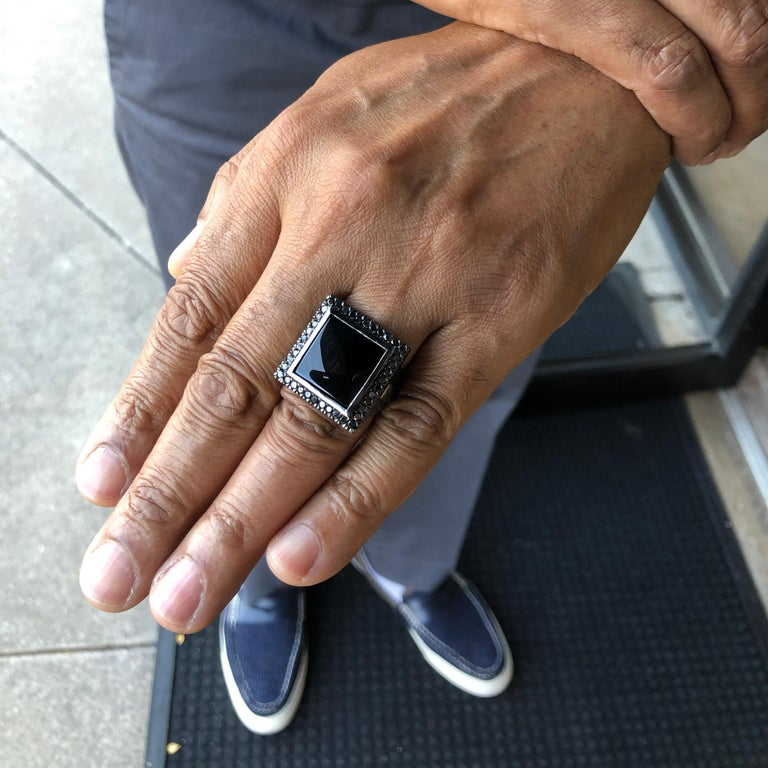 Men's Orianne Collins Black Onyx Black Diamond Black Gold Gents Ring