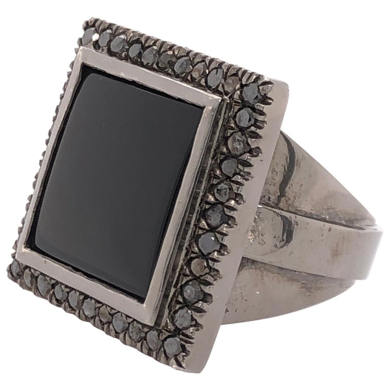 Orianne Collins Black Onyx Black Diamond Black Gold Gents Ring