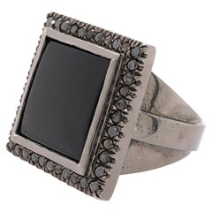 Orianne Collins Black Onyx Black Diamond Black Gold Gents Ring