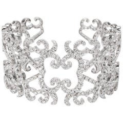 Orianne Collins Diamond Tales Cuff in 18 Karat White Gold 19.00 Carat