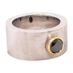 Orianne Collins White and Yellow Gold Black Diamond Gentlemen's Ring