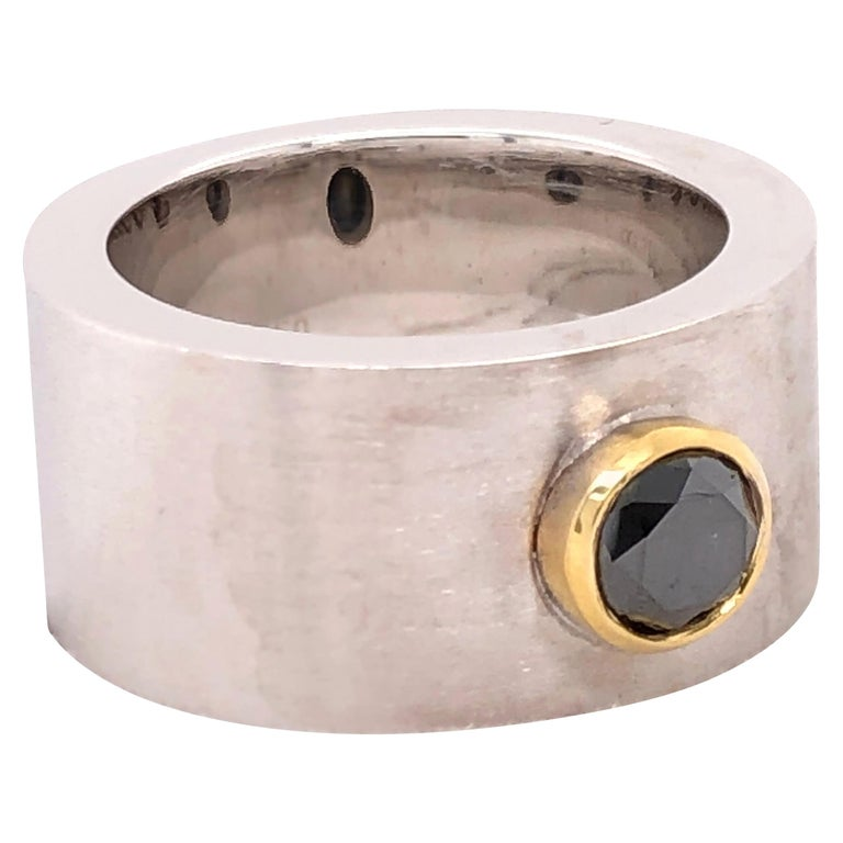 Orianne Collins White and Yellow Gold Black Diamond Gentlemen's Ring For Sale