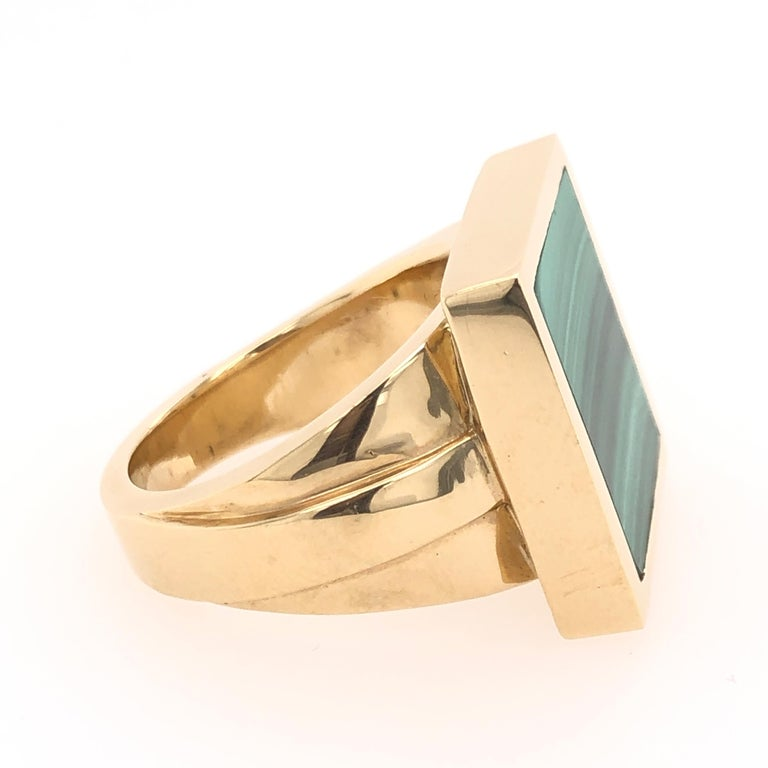 Modern Orianne Collins Yellow Gold Square Malachite Gentleman's Ring For Sale