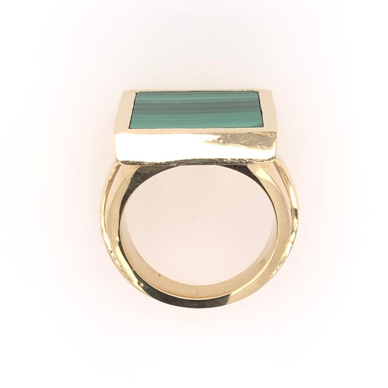 Men's Orianne Collins Yellow Gold Square Malachite Gentleman's Ring For Sale