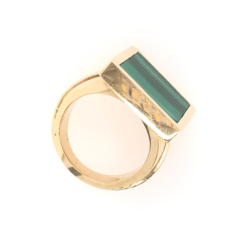 Orianne Collins Yellow Gold Square Malachite Gentleman's Ring For Sale 1