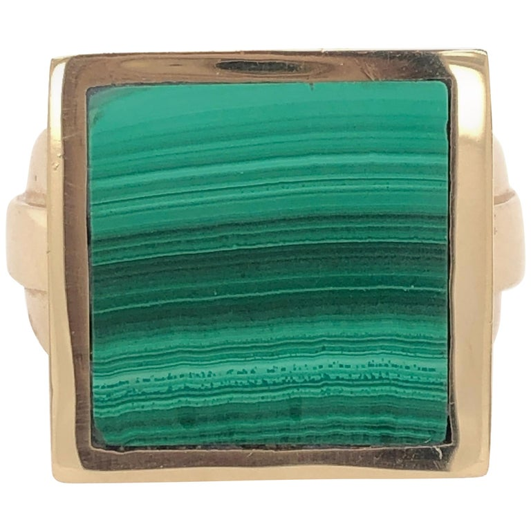 Orianne Collins Yellow Gold Square Malachite Gentleman's Ring For Sale