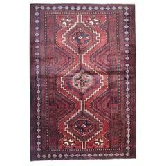 Oriental Afghan Carpet, Traditional Red wool Area Rug Handwoven