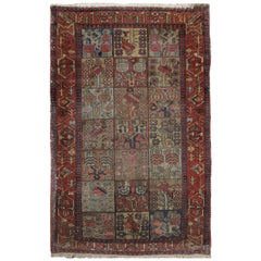 Oriental Antique Caucasian Rug, Handmade Deep Red Wool Rug for Living Room