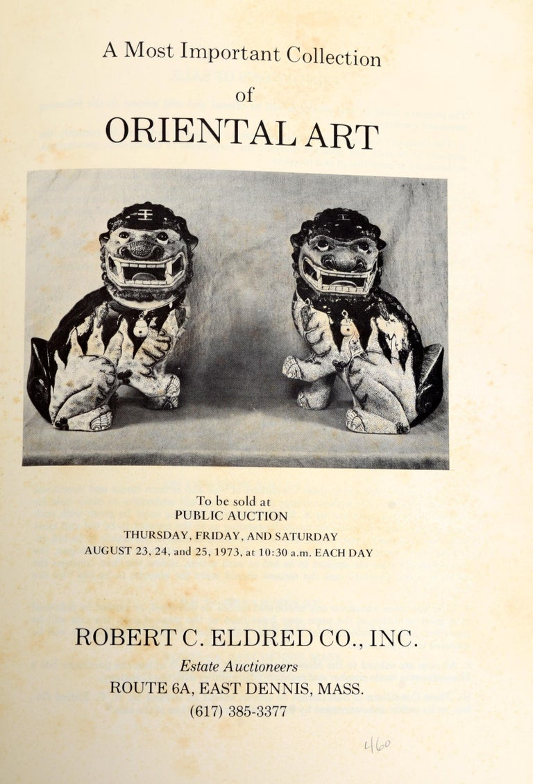 Oriental Art at Auction, 1st Ed Presentation Copy, Eldred 1973 In Good Condition For Sale In valatie, NY