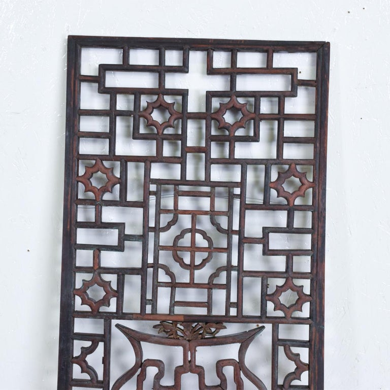 Anglo-Japanese Oriental Asian Rosewood Wall Sculptural Antique Panel Screen For Sale