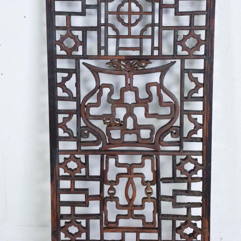 Chinese Oriental Asian Rosewood Wall Sculptural Antique Panel Screen For Sale