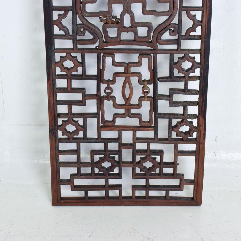 Patinated Oriental Asian Rosewood Wall Sculptural Antique Panel Screen For Sale