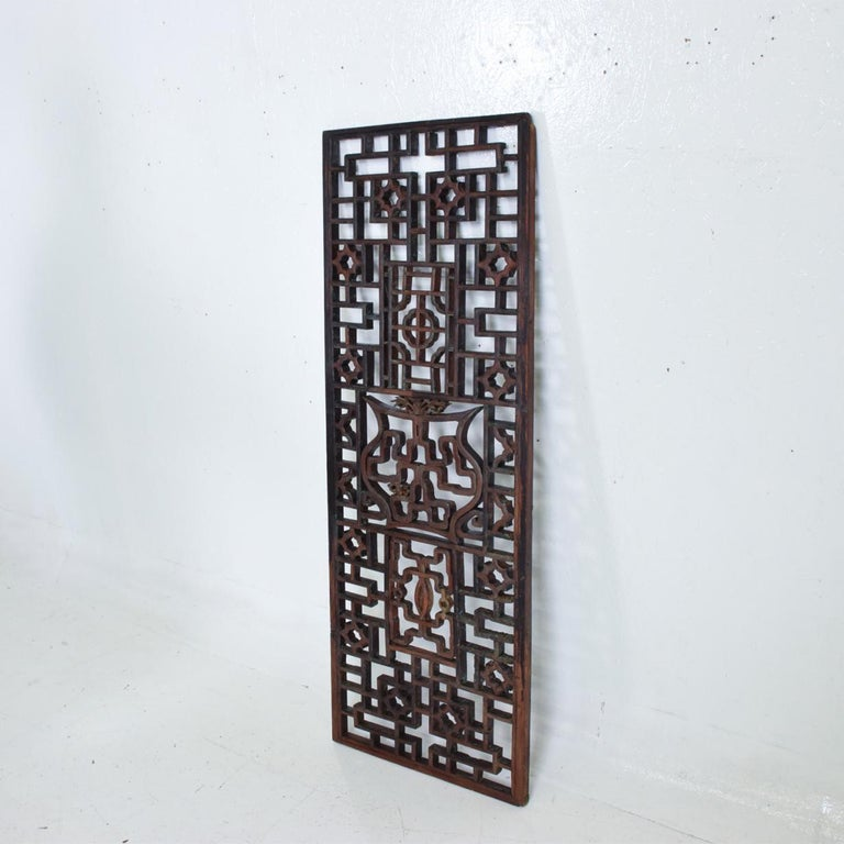 Oriental Asian Rosewood Wall Sculptural Antique Panel Screen In Good Condition For Sale In National City, CA