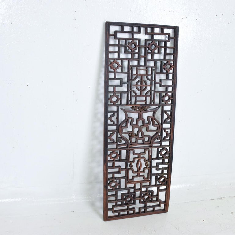 Mid-20th Century Oriental Asian Rosewood Wall Sculptural Antique Panel Screen For Sale
