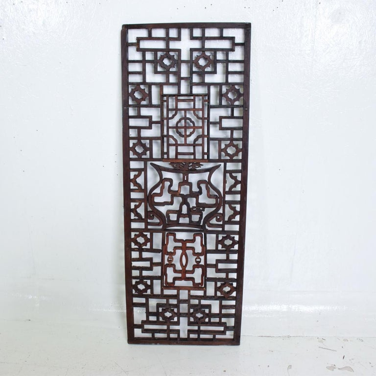Oriental Asian Rosewood Wall Sculptural Antique Panel Screen For Sale 1