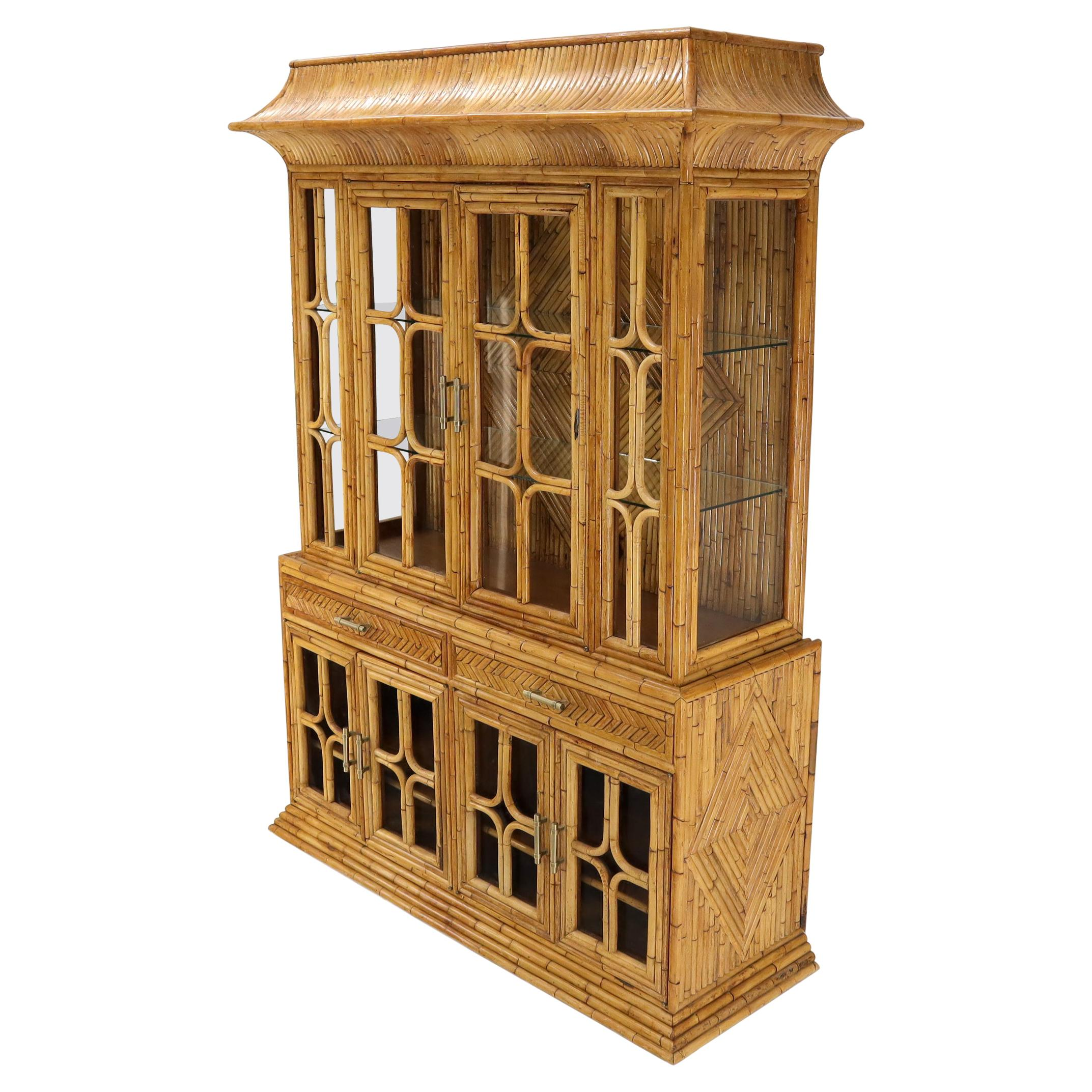 Oriental Asian Style Bamboo Rattan Hutch Buffet Display Cabinet Curio Sideboard