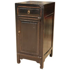 Oriental Bedside Table in Black Lacquered Wood, 20th Century