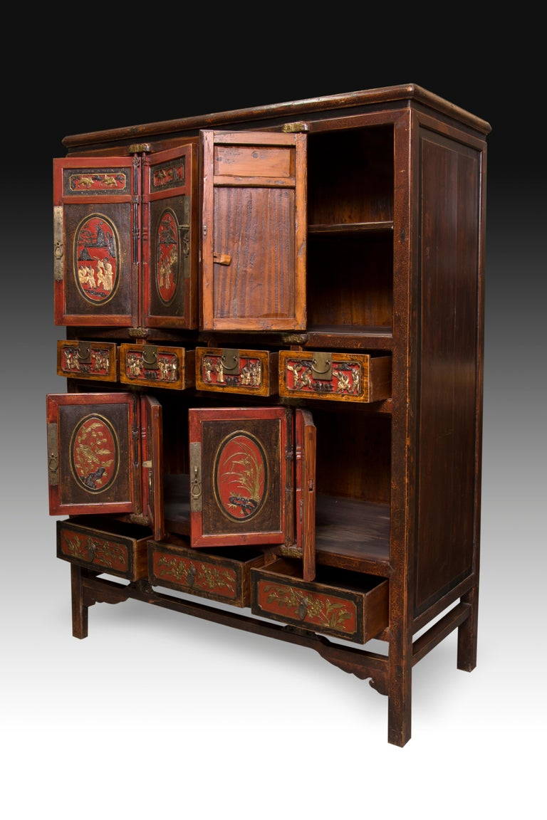 Asian Oriental Cabinet, Polychromed Wood and Metal, 19th-20th Century For Sale