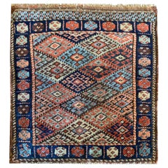 Oriental Carpet Antique Rugs, Small Geometric Wool Azerbaijan Area Rug
