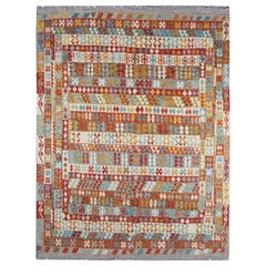 Oriental Carpet Traditional Afghan Kilim Rug Multicolored Wool Rug