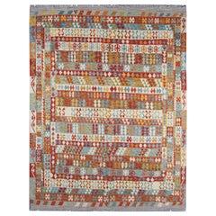 Oriental Carpet Traditional Afghan Kilim Rug Multicolored Wool Rug