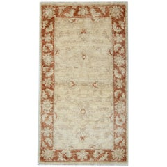 Oriental Carpet, Wool Small Rug Cream Ziegler Style Inspired Living Room Rugs