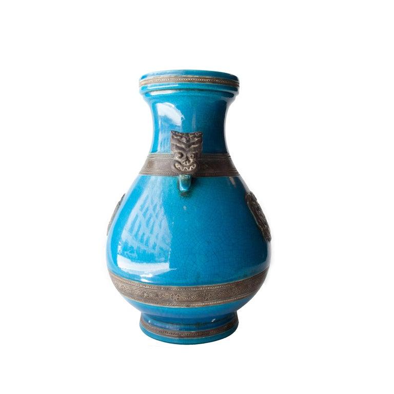 Mid-Century Modern Oriental Ceramic Turquoise Vase, Asia, 1940 For Sale