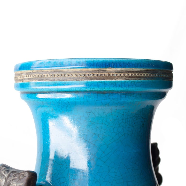 Asian Oriental Ceramic Turquoise Vase, Asia, 1940 For Sale