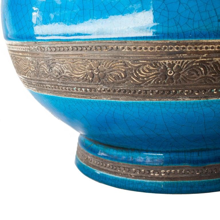 Oriental Ceramic Turquoise Vase, Asia, 1940 In Good Condition For Sale In Madrid, ES