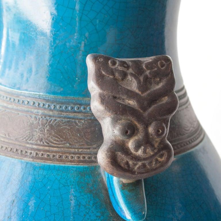 Mid-18th Century Oriental Ceramic Turquoise Vase, Asia, 1940 For Sale