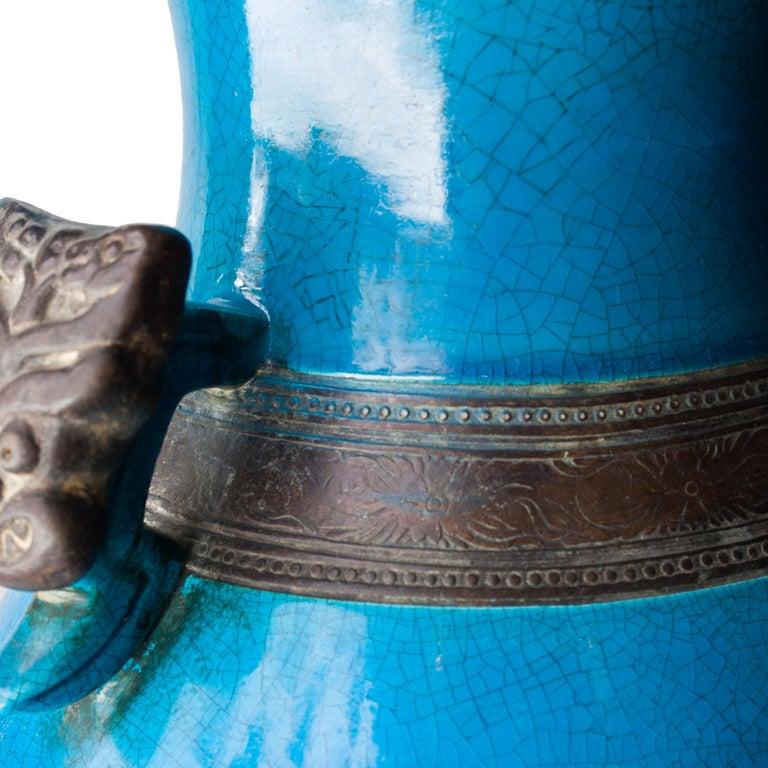 Oriental Ceramic Turquoise Vase, Asia, 1940 For Sale 1