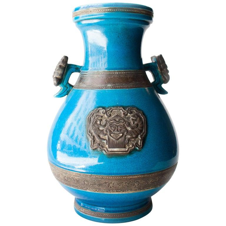 Oriental Ceramic Turquoise Vase, Asia, 1940 For Sale