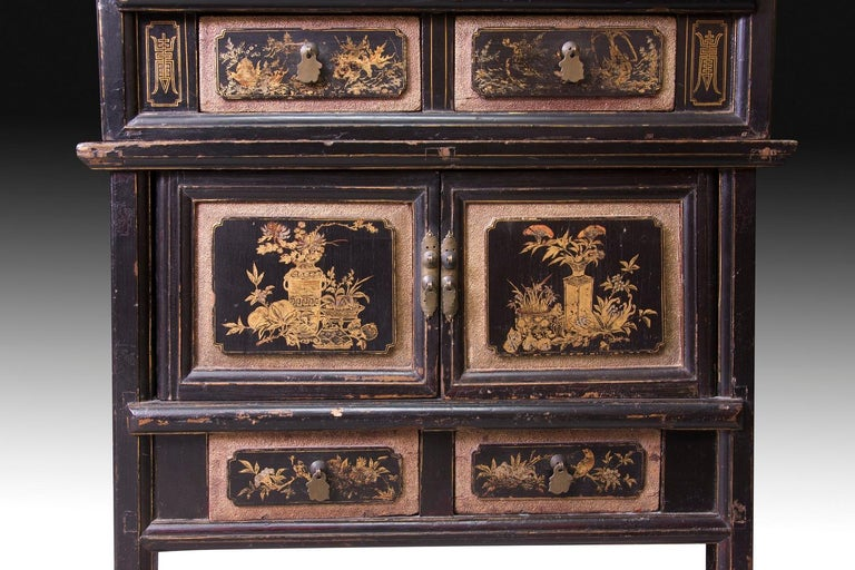 Neoclassical Oriental Cupboard, Lacquered Wood, 19th-20th Century For Sale