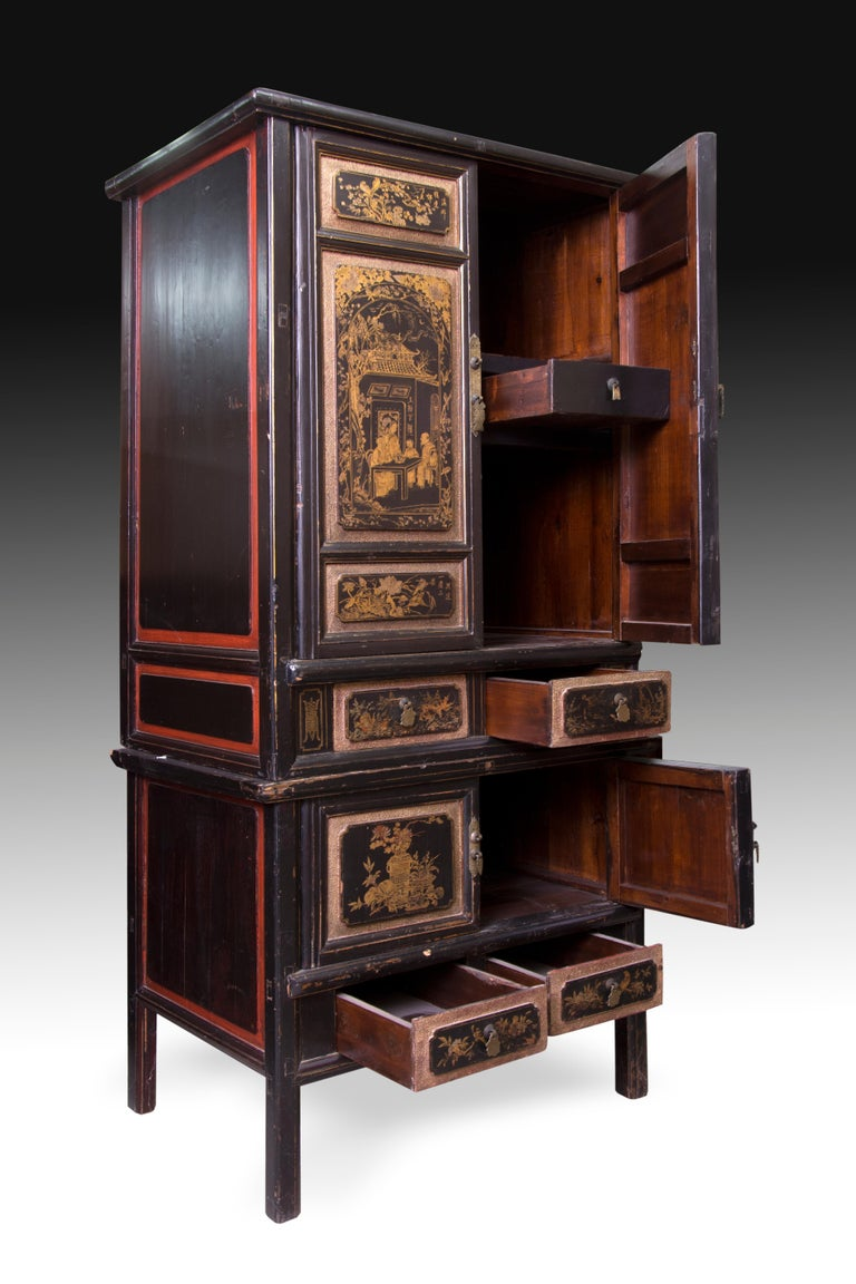 Asian Oriental Cupboard, Lacquered Wood, 19th-20th Century For Sale