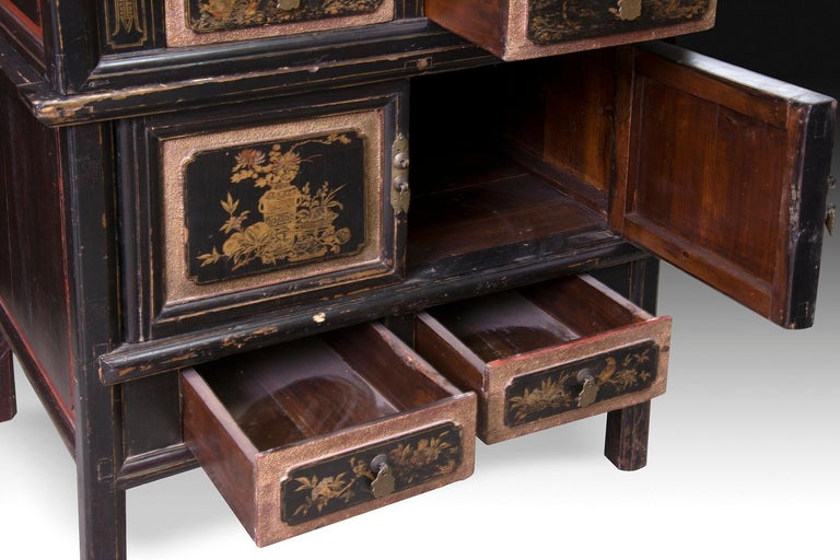 19th Century Oriental Cupboard, Lacquered Wood, 19th-20th Century For Sale