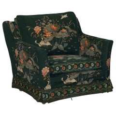 Oriental Floral and Bird Upholstery Vintage Country House Mansion Club Armchair