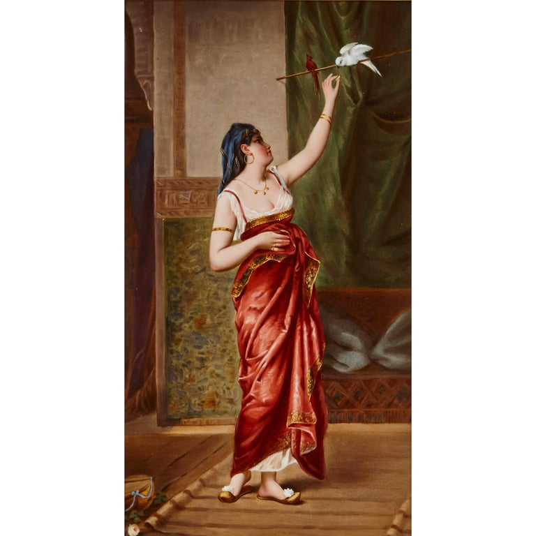 Orientalist style works became very popular in the 19th Century, and the tradition continued into the early 20th Century, when this fine porcelain plaque was produced. Manufactured by famed German firm KPM, the plaque was retailed in New York by
