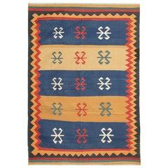 Oriental Handmade Kilim Area Rug Beige and Blue Tribal Wool Rug