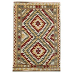 Oriental Kilims Green Cream Kilim Rugs Wool Area Rug Handwoven