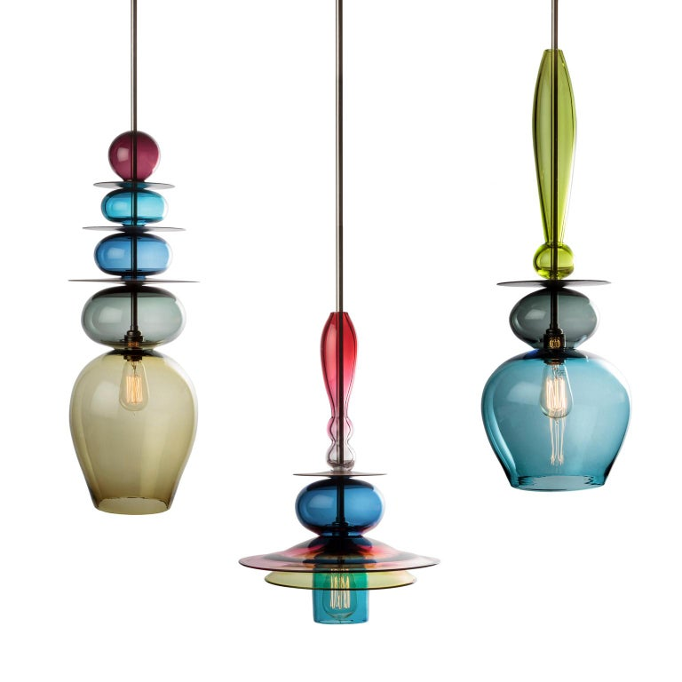 Contemporary Oriental Large Sculptural Colored Glass and Walnut Wood Pendant or Chandelier For Sale