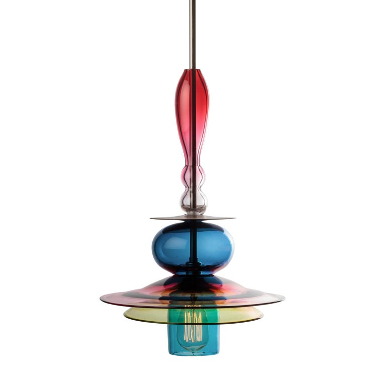 Oriental Large Sculptural Colored Glass and Walnut Wood Pendant or Chandelier For Sale